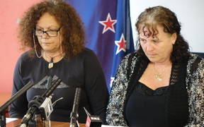 Lois Tolley's aunt, Lorraine Duffin, and mother Cathrine MacDonald, speak to reporters.