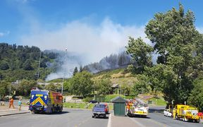 The fire on Signal Hill in Dunedin started behind the Logan Park High School.
