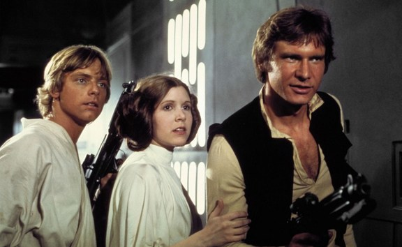 From left, Mark Hamill, Carrie Fisher, Harrison Ford in Star Wars Episode IV: A New Hope.