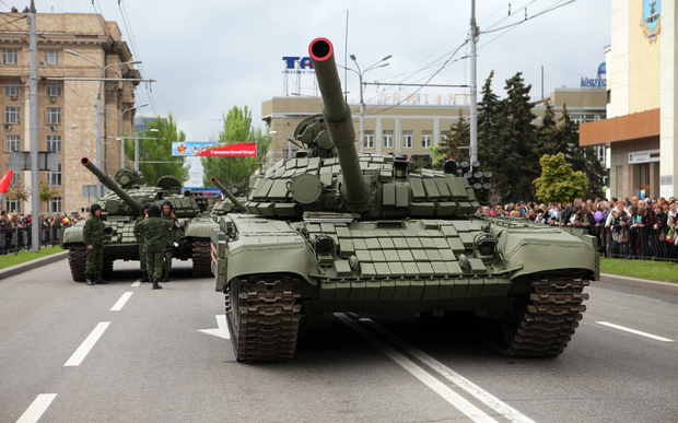 Tanks of pro-Russian separatists in the self-proclaimed Donetsk People's Republic take part in a parallel Victory Day parade in Donetsk , Ukraine, on 9 May 2015.