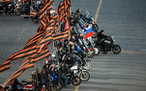 Pro-Kremlin bikers from the Night Wolves bikers' club take part in a concert in Red Square as part of Victory Day.