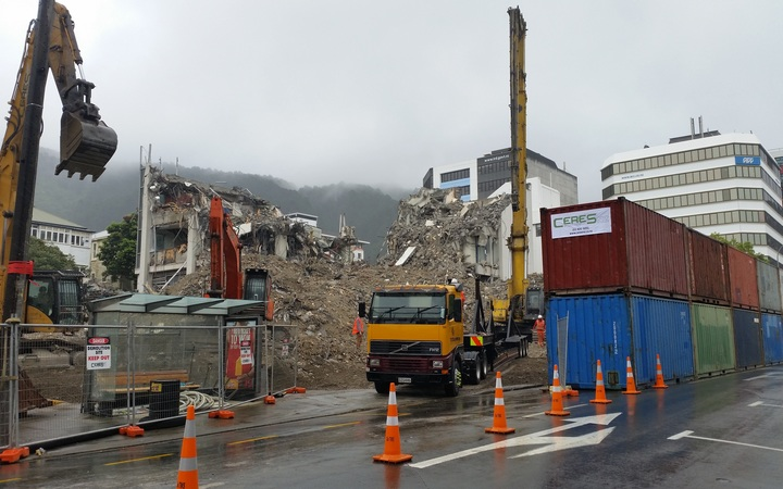 Molesworth Street, Wellington.  The Wellington City Council took over management of the deconstruction from the building's owner, Prime Property Group, owned by Eyal Aharoni.