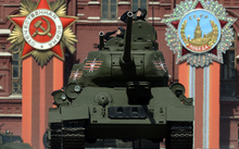 Russian T-34 Soviet-made tanks drive through Red Square during the Victory Day military parade in Moscow.