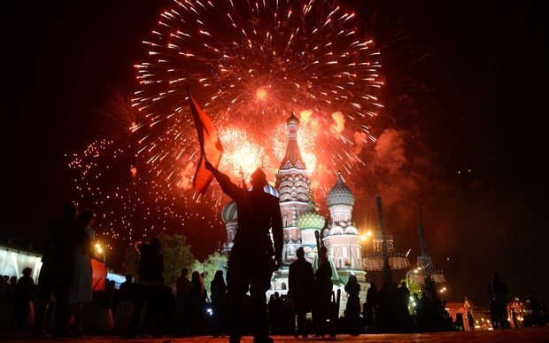 Fireworks explode above Moscow's Red Square on Victory Day.