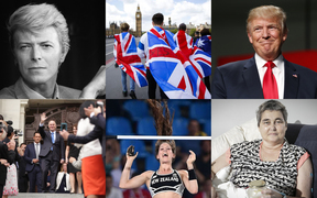 Clockwise from left, David Bowie, Brexit, Donald Trump, Helen Kelly, Eliza McCartney, John Key.