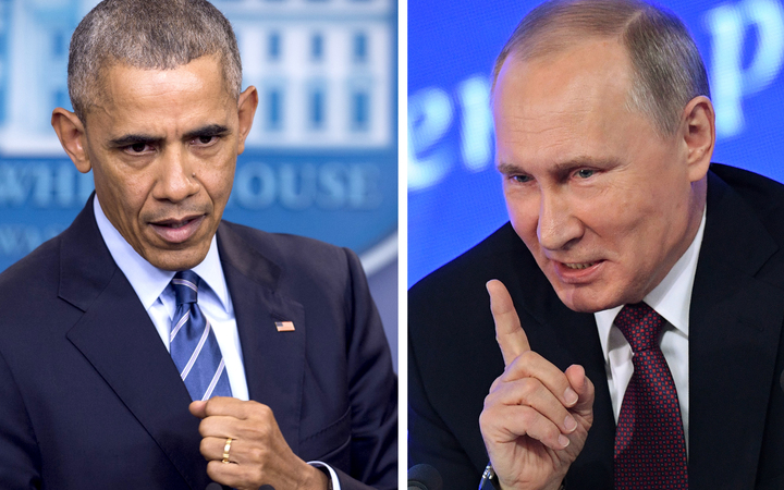 US President Barack Obama speaking at the White House in Washington, DC on December 16, 2016 and Vladimir Putin speaking in Moscow on December 23, 2016.