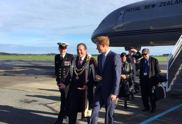 Prince Harry (front, right) meets with Invercargill Mayor Tim Shadbolt.