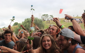 Revellers at the 2016/7 Rhythm and Vines music festival in Gisborne