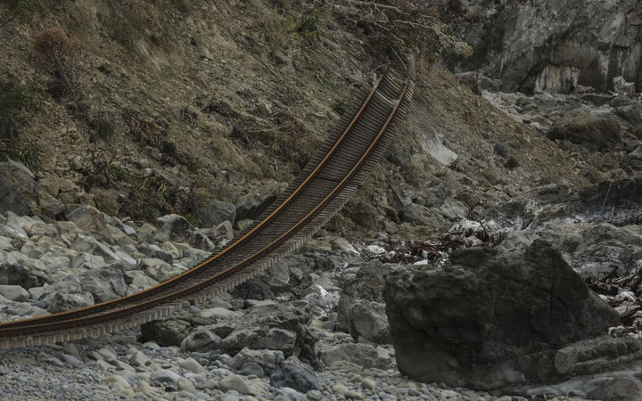Railway tracks ripped from the line alond state highway 1 - north of Kaikoura