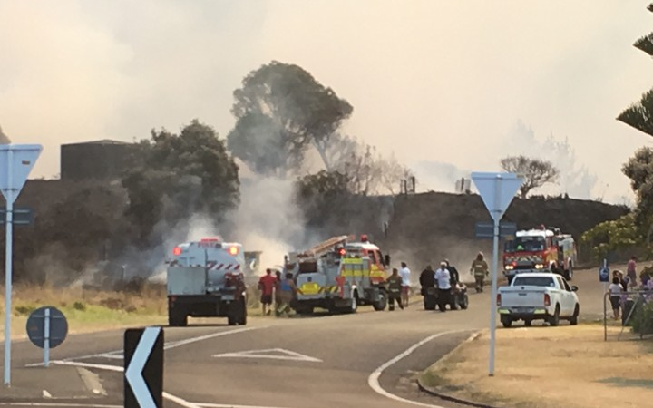 Homes have been evacuated as crews battle the blaze.