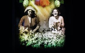 One of the lightboards in the exhibition, of hop pickers in Motueka.