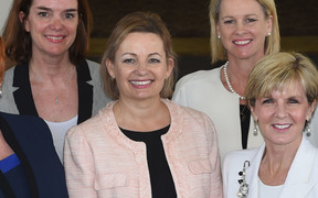 (Front row only, left to right Defence Minister Marise Payne, Health Minister Sussan Ley, Foreign Affairs Minister Julie Bishop, Small Business Minister  Kelly O'Dwyer and Minister of Women, Michaelia Cash after their swearing in ceremony at Government House in Canberra on September 21, 2015.