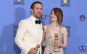 Actors Ryan Gosling and Emma Stone - winners for Best Actor and Best Actress in a Musical or Comedy Film for La La Land.
