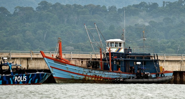 One of the boats which carried illegal migrants, at Langkawi, Malaysia.