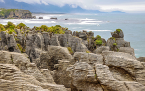 Pancake rocks at Punakaiki, West Coast. Tourism story.