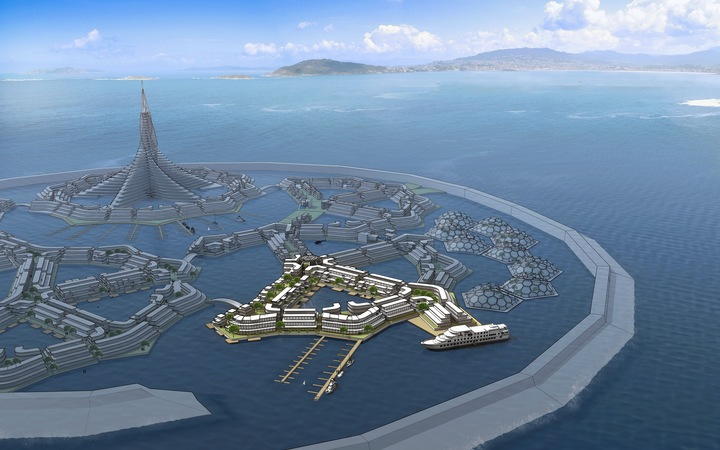 A floating city project design by The Seasteading Institute.