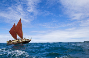 The Hawaiian voyaging canoe, Hōkūle'a, set out on a trip around the world in 2013 to promote traditional sailing techniques and marine conservation.