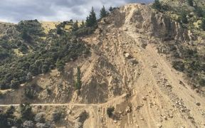 A landslip blocked the Awatere Valley Road, near Seddon, after the 7.8 magnitude earthquake on 14 November 2016.
