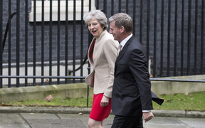Bill English with British Prime Minister Theresa May outside 10 Downing Street.