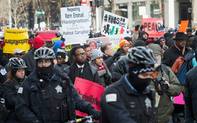 People in Chicago protest the fatal police shooting of teenager Laquan McDonald in 2015.