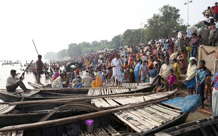 Boats on the Ganges River in Patna in India's Bihar state.