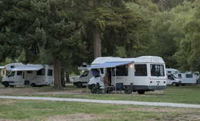 Camper vans at Lake Hawea Holiday Park - February 2016