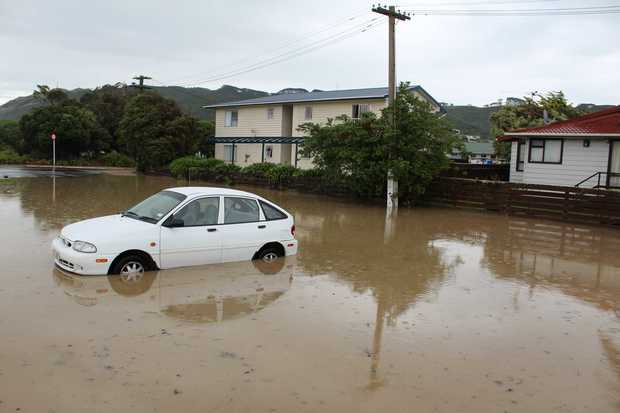 Flooding in Porirua this afternoon.