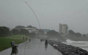 The Len Lye Wind Wand sculpture bows to the strong northeasterly in New Plymouth.
