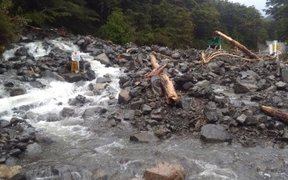 Flood damage at Wardens Creek near Arthur's Pass