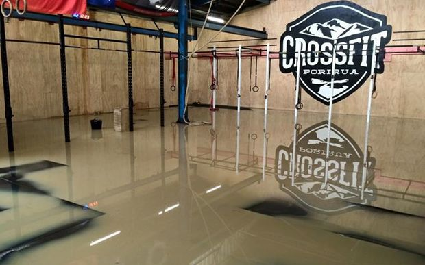 Flooding at CrossFit Porirua.