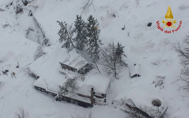 A handout aerial picture made available on 19 January 2017 by Vigili del Fuoco shows Hotel Rigopiano, buried in an avalanche, in the region of Abruzzo near Farindola, Italy.