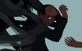 An illustration shows a young man caught in the grip of dark hands, illustrating mental health and suicide prevention.