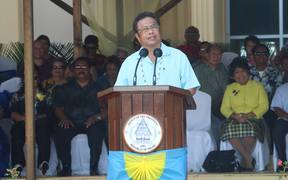Palau's president delivers his inauguration message at the Capitol Building in Melekeok State on Thursday 19 January 2017
