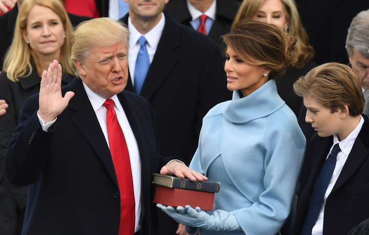 Donald Trump is sworn in as President.