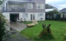 Justin Patterson in Paraparaumu was forced to move out of his house yesterday because of flooding.