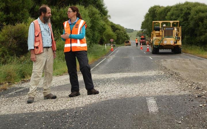 GNS scientists discuss the road displacement at Kekerengu, south of Ward where roadworks have been under way since the November quake.