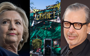 Hillary Clinton, left, Jeff Goldblum, right and the Comet Ping Pong restaurant, centre.