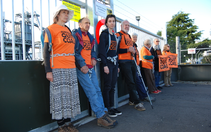 Protesters chained themselves to the gates of the Fonterra plant in South Canterbury.