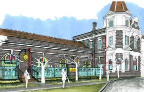 An artist's impression of the glass deck planned for Dunedin's historic railway station.