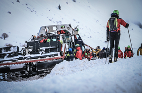 Rescuers work at the crash site in the mountains, near the ski resort of Campo Felice, central Italy.
