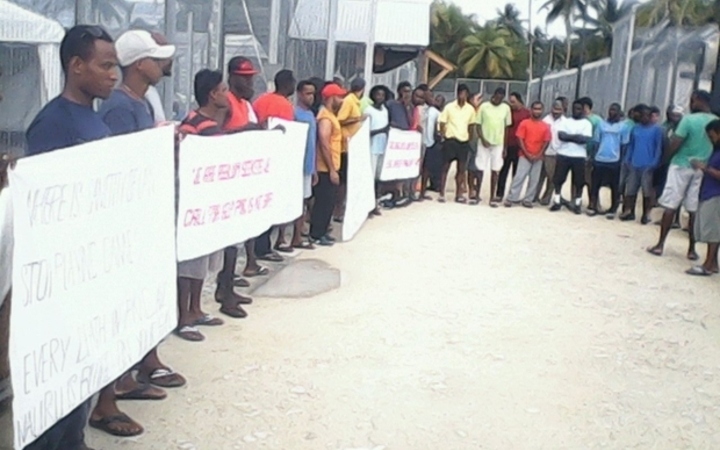 A protest by refugees and asylum seekers on Manus Island in Papua New Guinea.