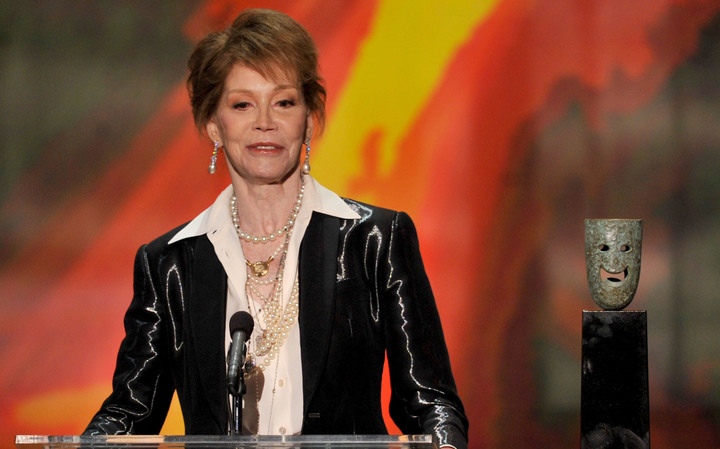 Mary Tyler Moore accepting a life achievement award at the Screen Actors Guild Awards, Los Angeles, in 2012.