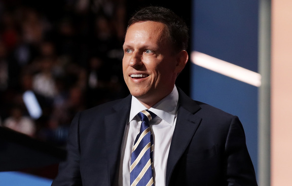 Peter Thiel, co-founder of PayPal, walks on stage to deliver a speech during the evening session on the fourth day of the Republican National Convention on July 21, 2016 at the Quicken Loans Arena in Cleveland, Ohio.