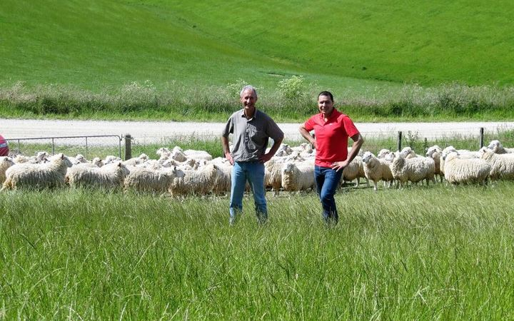 Michael Hogan, left, and Dion Morrell. Sheep contest
