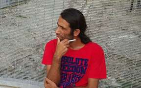 Behrouz Boochani at the Manus Island detention centre.