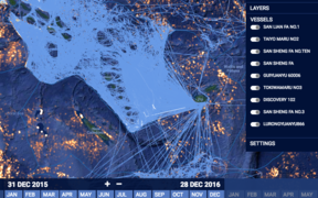 Fishing boat tracks during 2016 in the EEZs of Vanuatu, Fiji and the Cook Islands.