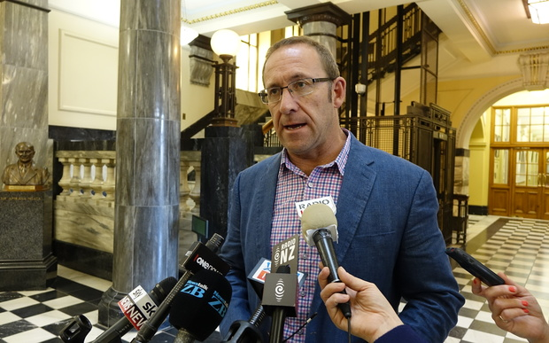 Labour leader Andrew Little at today's stand-up at Parliament.