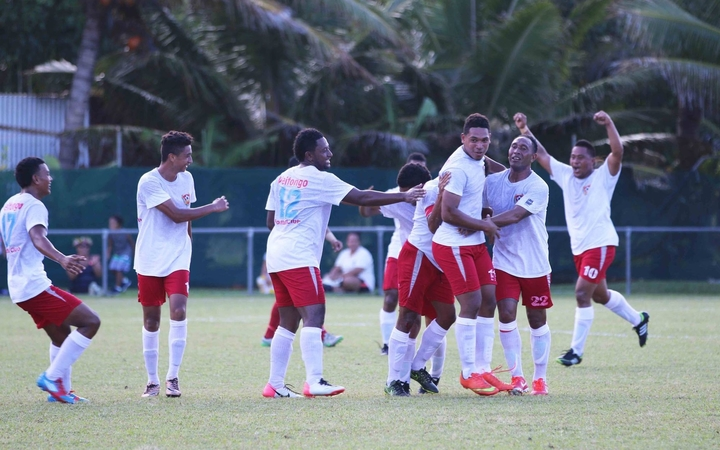 Tonga's Veitongo FC celebrate a goal during last year's OFC Preliminary in the Cook Islands.