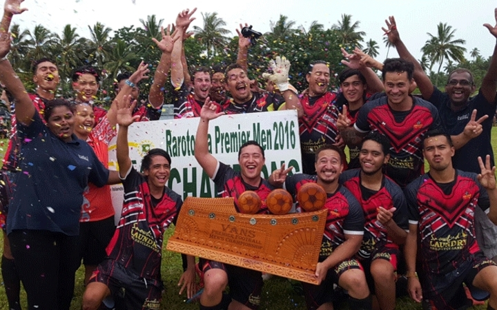 Puaikura FC celebrate winning the Cook Islands Round Cup in 2016.