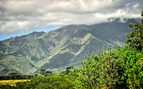 Lush green mountains on Kauai, Hawaii